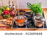 Cooking Pots On The Stove
