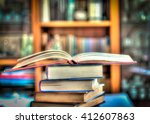 a pile of books in a little... | Shutterstock . vector #412607863
