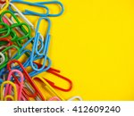 paper clip and note paper on ... | Shutterstock . vector #412609240