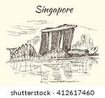 singapore sky park and flower... | Shutterstock .eps vector #412617460