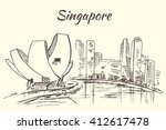 art science museum and marina...   Shutterstock .eps vector #412617478