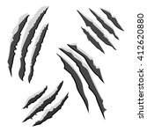 set of black claw scratches... | Shutterstock .eps vector #412620880
