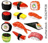 japanese food sushi and rolls... | Shutterstock .eps vector #412629928