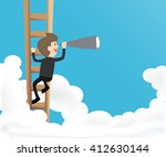 businessman climb ladder into... | Shutterstock .eps vector #412630144
