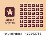 set of marine animals simple...