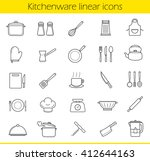 kitchenware linear icons set.... | Shutterstock .eps vector #412644163