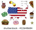 traditional symbols of usa with ... | Shutterstock .eps vector #412648684