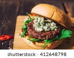Fresh Burger With Blue Cheese...