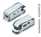 isometric rv camper. car for a... | Shutterstock .eps vector #412654513