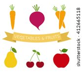 set of vegetables and fruits...   Shutterstock . vector #412665118