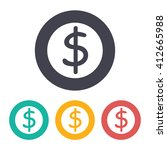 vector flat dollar icon with... | Shutterstock .eps vector #412665988