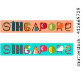 singapore word title with... | Shutterstock .eps vector #412669729