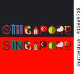 singapore title with culture... | Shutterstock .eps vector #412669738
