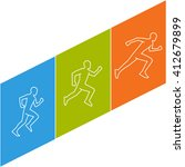 modern running logo. colored...   Shutterstock . vector #412679899