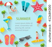 summertime background with... | Shutterstock . vector #412684300