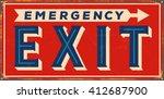 vintage metal sign    emergency ... | Shutterstock .eps vector #412687900