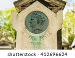 Small photo of PARIS, FRANCE - APRIL 28, 2016: Stendhal's grave in the Montmartre Cemetery. Marie-Henri Beyle is the pen name of this French writer. He is one of the earliest and foremost practitioners of realism.