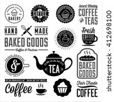 vintage cafe and bakery designs ... | Shutterstock .eps vector #412698100
