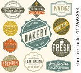 vintage label design   set of... | Shutterstock .eps vector #412698394