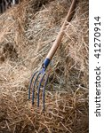 pitchfork in haystack - stock photo