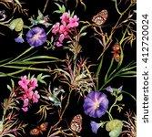 watercolor summer garden...   Shutterstock . vector #412720024