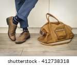 fashion man legs in indigo navy ... | Shutterstock . vector #412738318