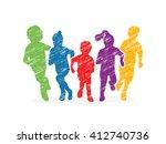 group of children running ... | Shutterstock .eps vector #412740736