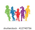 Group Of Children Running ...