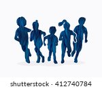 group of children running ... | Shutterstock .eps vector #412740784