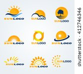 sun logo  have trees  clouds... | Shutterstock .eps vector #412746346