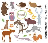 wild and forest bitmap animals... | Shutterstock . vector #412751794