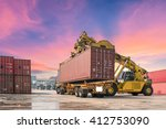 forklift handling the container ... | Shutterstock . vector #412753090