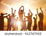 people having fun beach party | Shutterstock . vector #412767433