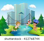three boys diving in the river... | Shutterstock .eps vector #412768744