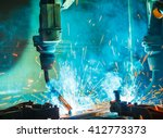 welding robots movement in a... | Shutterstock . vector #412773373