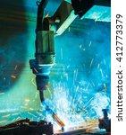 welding robots movement in a... | Shutterstock . vector #412773379