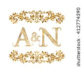a n vintage initials logo... | Shutterstock .eps vector #412774390