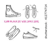 hand drawn set with sport shoes ... | Shutterstock .eps vector #412774714