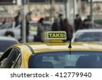 a yellow taxi sign in istanbul  ... | Shutterstock . vector #412779940