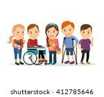special needs children with... | Shutterstock .eps vector #412785646