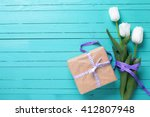 Background With White Tulip...