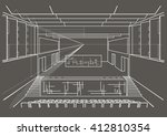 linear architectural sketch...   Shutterstock .eps vector #412810354
