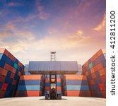 forklift truck lifting cargo... | Shutterstock . vector #412811200