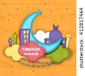 creative blue paper crescent... | Shutterstock .eps vector #412817464