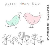 Stock vector happy mother s day with cute birds in doodle style 412833466