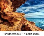 rocky headland on the atlantic... | Shutterstock . vector #412851088