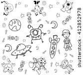 doodle galaxy a funny with...   Shutterstock .eps vector #412852978