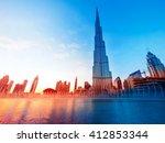 dubai  uae   february 17  burj... | Shutterstock . vector #412853344