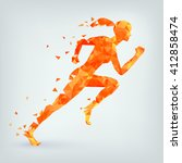 running woman from triangles ... | Shutterstock .eps vector #412858474
