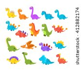 cute cartoon dinosaurs set of... | Shutterstock .eps vector #412882174